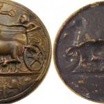 Botón griego. decadracma de Syracuse