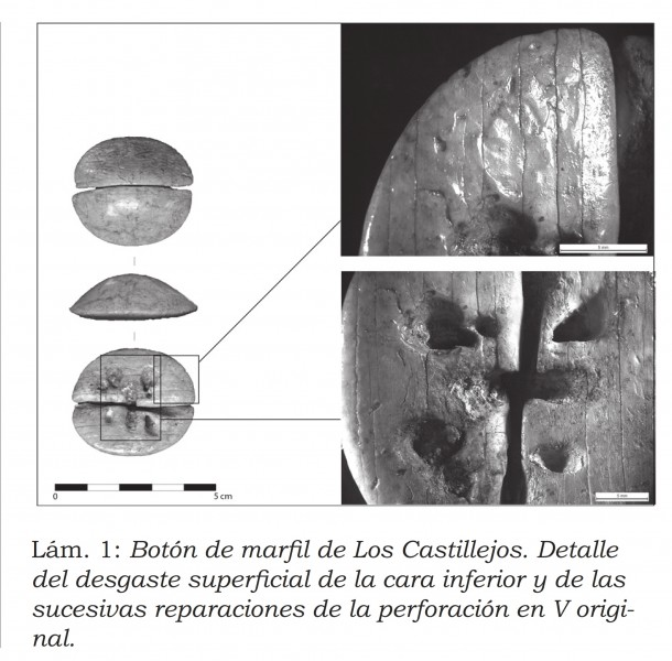 Botón de marfil de perforacion en V de los Castillejos de Montefrío. Granada.