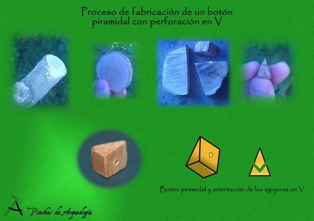 Proceso de fabricación de un botón piramidal con perforacion en V.